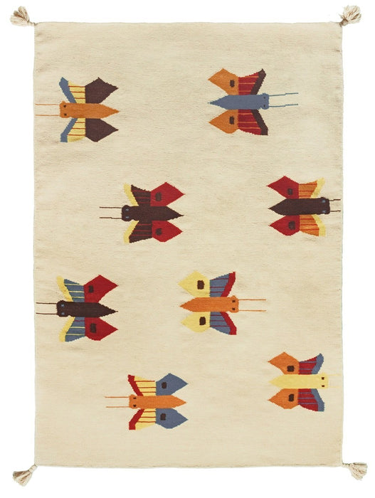 Art For Kids 140 x 200 cm 100 Percent Handwoven High Quality Beautiful and Durable Virgin Wool Kilim Rug, Multi-Colour
