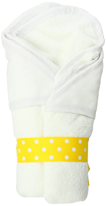 AM PM Kids! Hooded Towel, White with White Trim