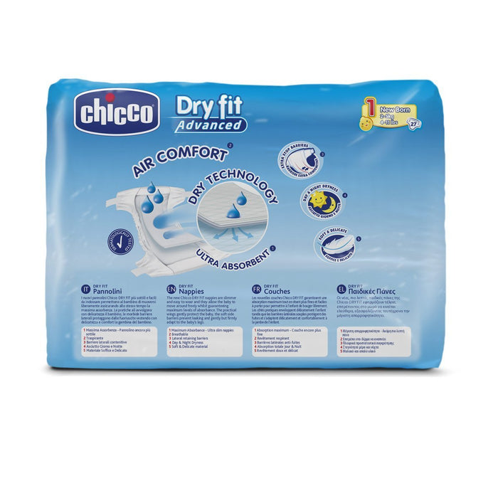 Chicco Dry Fit Advanced Set of 27 Nappies Size 1 Newborn