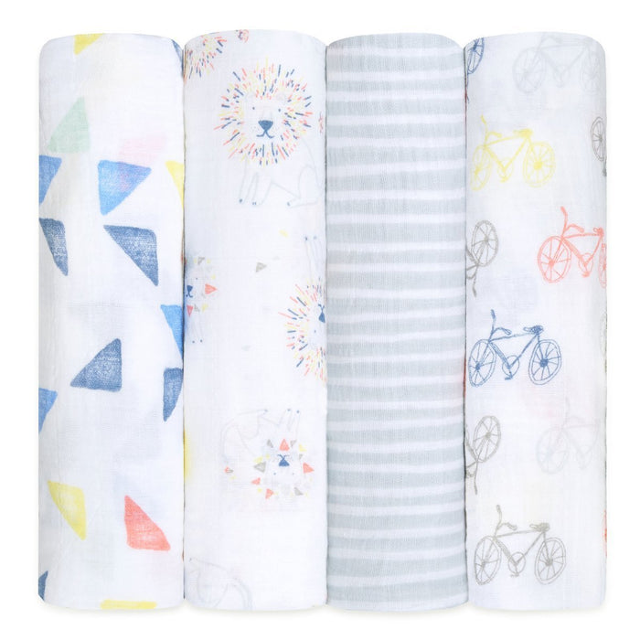 aden + anais Classic Muslin Swaddles, Leader of the Pack, Pack of 4