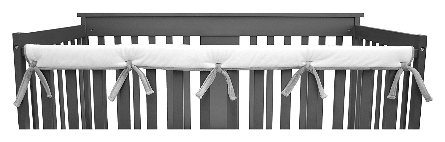 "American Baby Company Heavenly Soft Chenille Reversible Crib Cover for Long Rail, Gray/White, Narrow for Crib Rails Measuring up to 8"" Around"