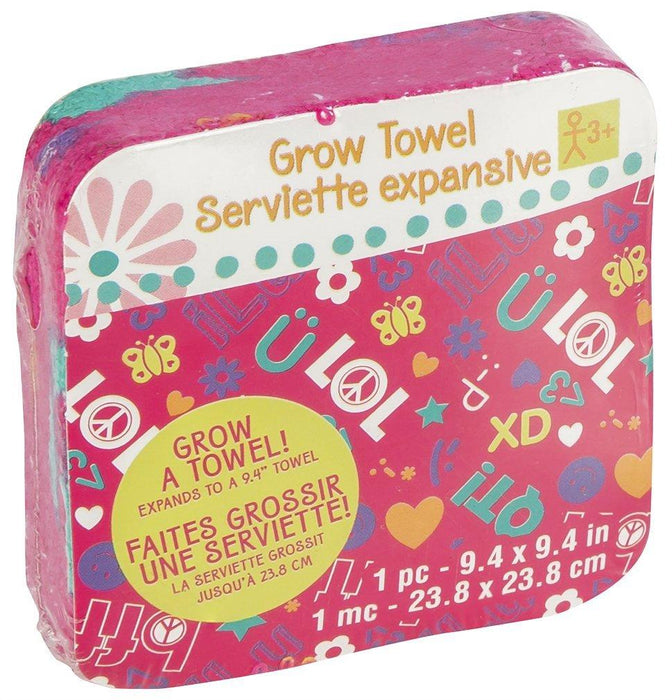 "Fun-Filled Hot Pink Girly Hugs and Kisses Grow Towel Party Favours, fabric, 2"" x 2"""