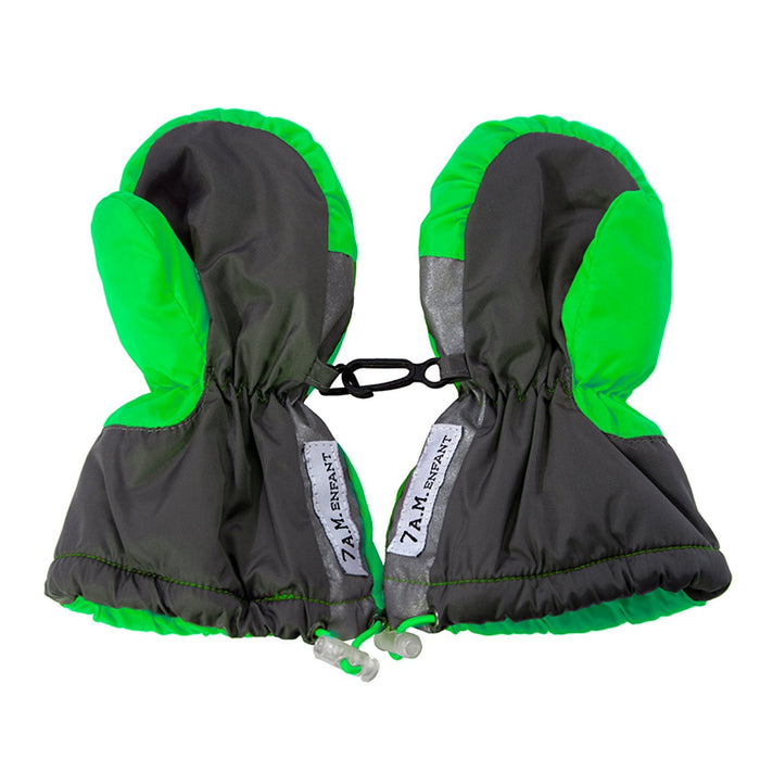 7AM Enfant Long Cuffed Mittens, Neon Green, Large