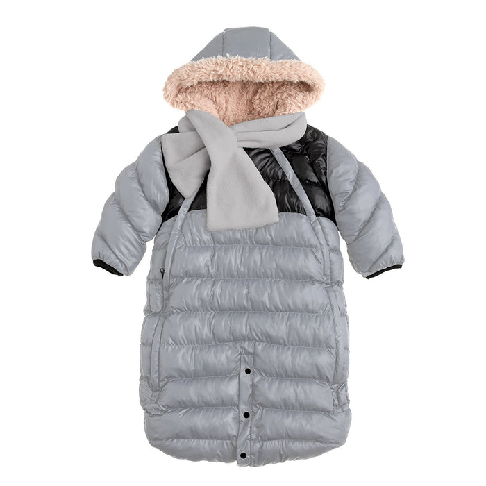 7AM Enfant Doudoune One Piece Infant Snowsuit Bunting, Gray/Black, Small