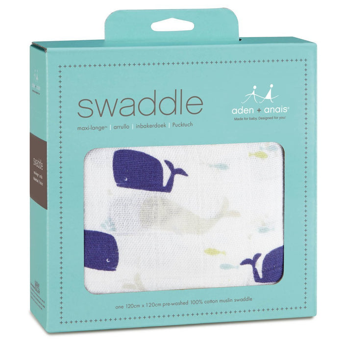 aden + anais Classic Swaddle (High Seas Whales, Single)