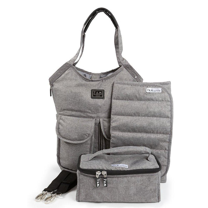 7 A.M. ENFANT Barcelona Diaper Bag, Heather Grey/Grey