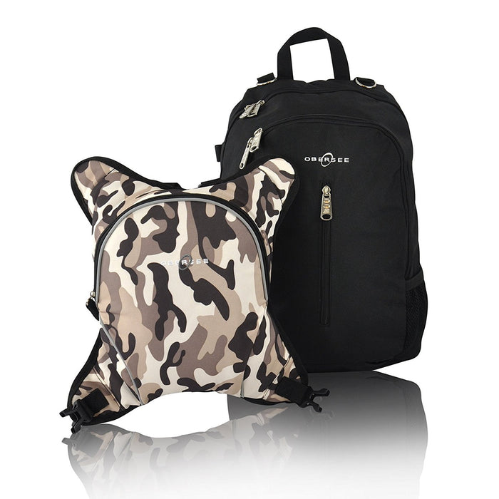 Obersee Rio Diaper Bag Backpack with Detachable Cooler (Black/ Camo)