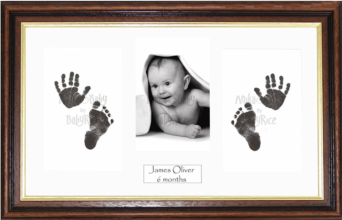 Anika-Baby BabyRice Baby Hand and Footprints Kit includes Black Inkless Prints/ Mahogany and Gold trim Wooden Frame with White Mount Display