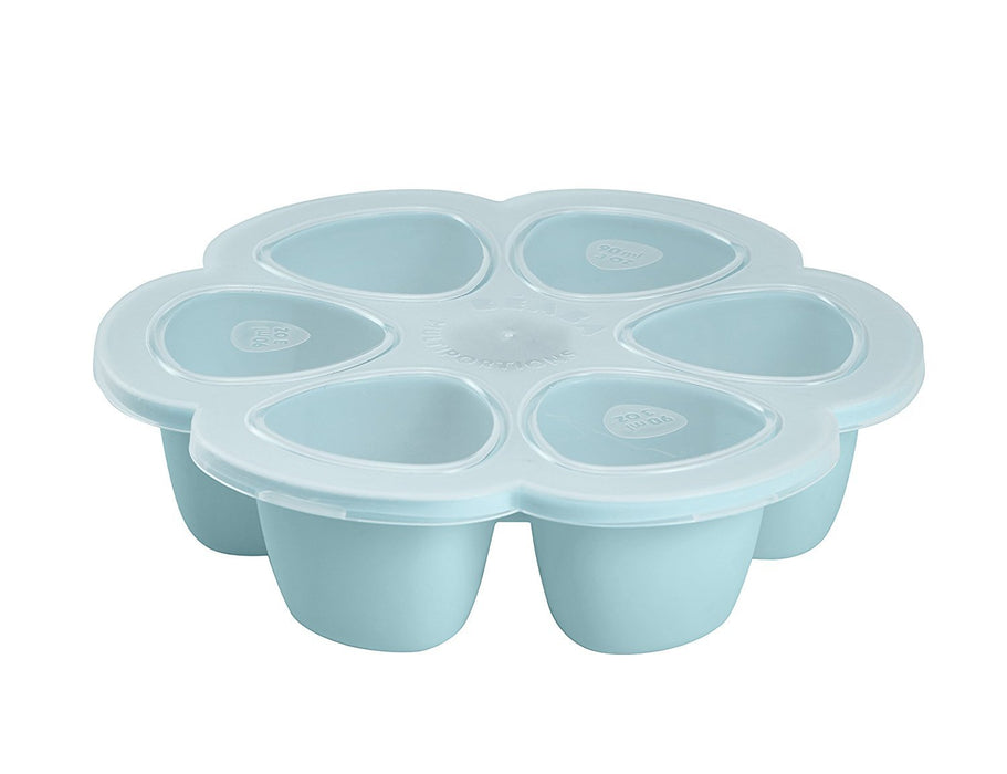 BEABA 6-Compartment Multiportions Silicone Food Storage (90 ml, Blue)