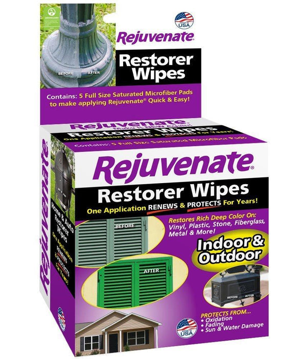 Rejuvenate Restorer Wipes Penetrating Formula Restores Shines and Protects Outdoor Surfaces (5-pack)
