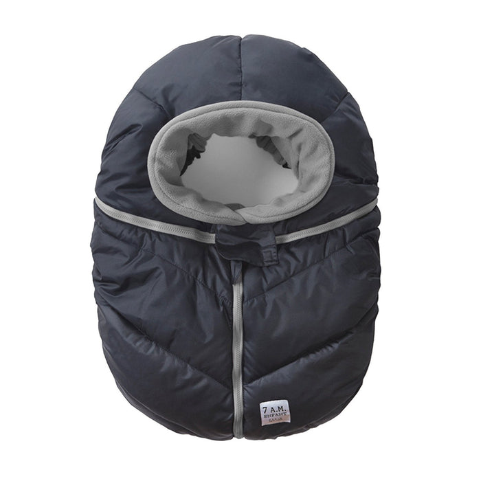 7AM Enfant Car Seat Cocoon: Infant Car Seat Cover Micro-Fleece Lined with an Elasticized Base, Metallic Prussian Blue