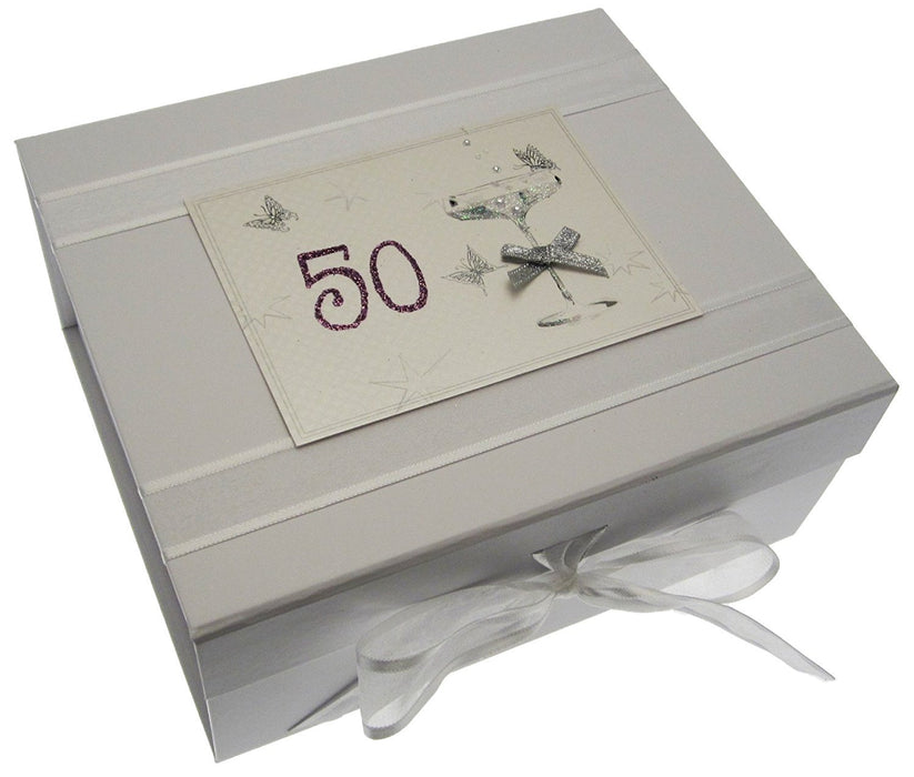 50th Birthday, Small Keepsake Box, Coupé Glass