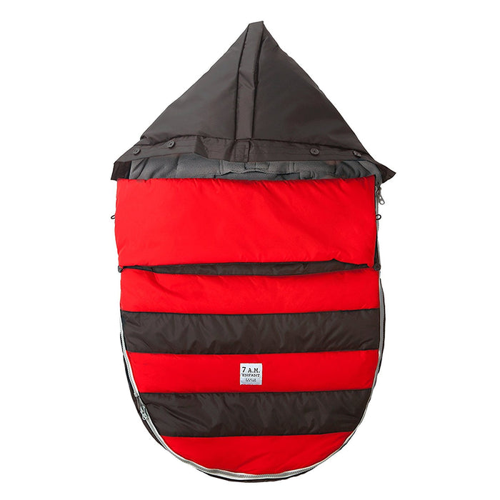 7AM Enfant Bee Pod Baby Bunting Bag for Strollers and Car-Seats with Removable Back Panel, Black/Red, Small/Medium