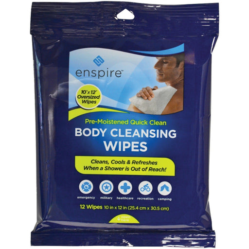 "Enspire Body Cleansing Wipes (12 Pack), 10"" x 12"""