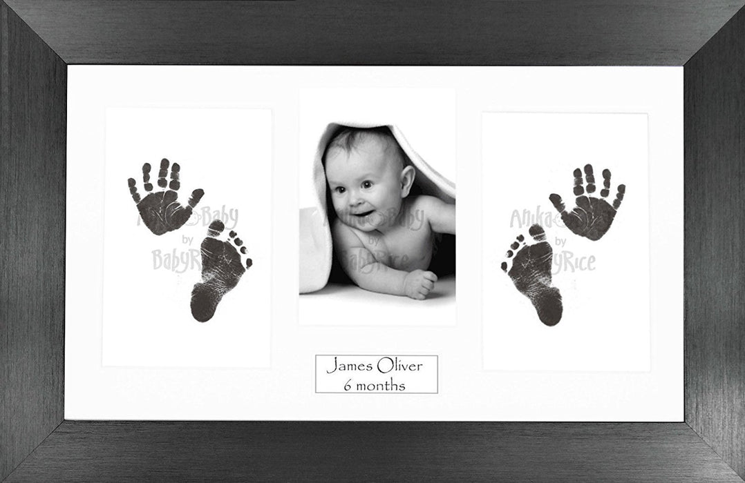 Anika-Baby BabyRice Baby Hand and Footprints Kit includes Black Inkless Prints/ Pewter Frame with White Mount Display