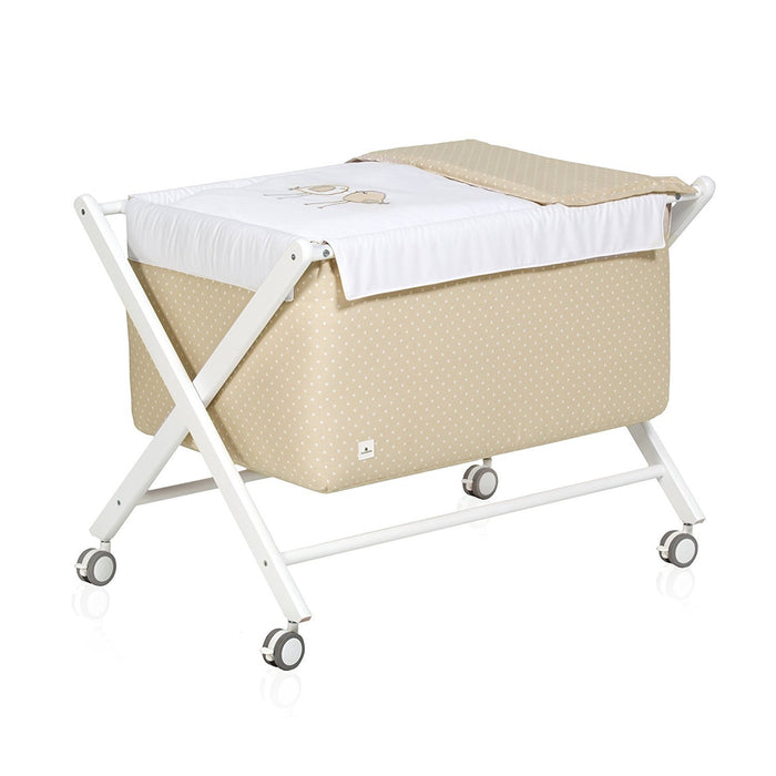 Alondra - minicuna Baby Wooden Complete, with vestidura beige