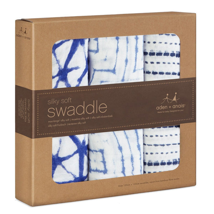 aden + anais Silky Soft Swaddle (Indigo, Pack of 3)
