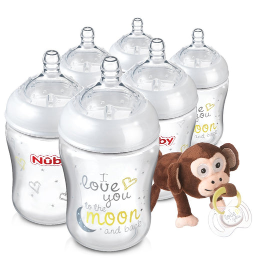 Nuby Natural Touch Bottles with Snoozies and Soother (270 ml, Pack of 6)