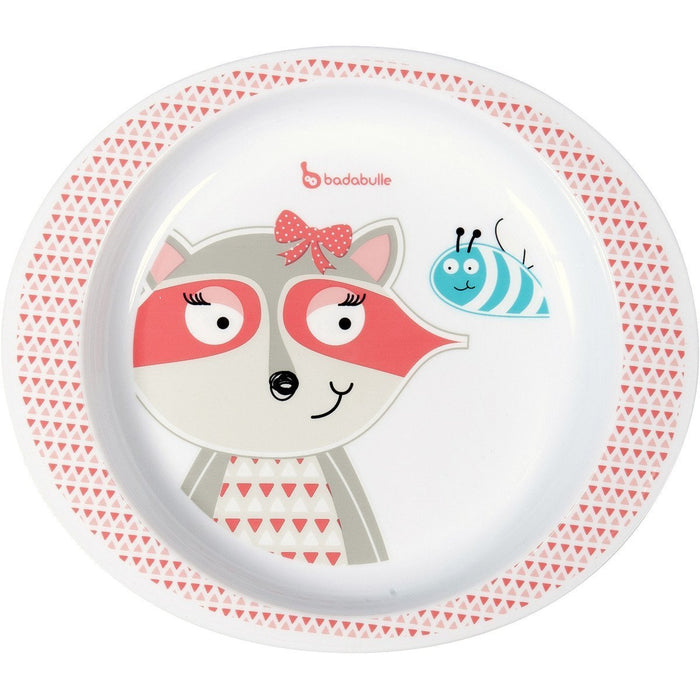 Badabulle Microwave Girl Safe Plate (Pink Racoon)