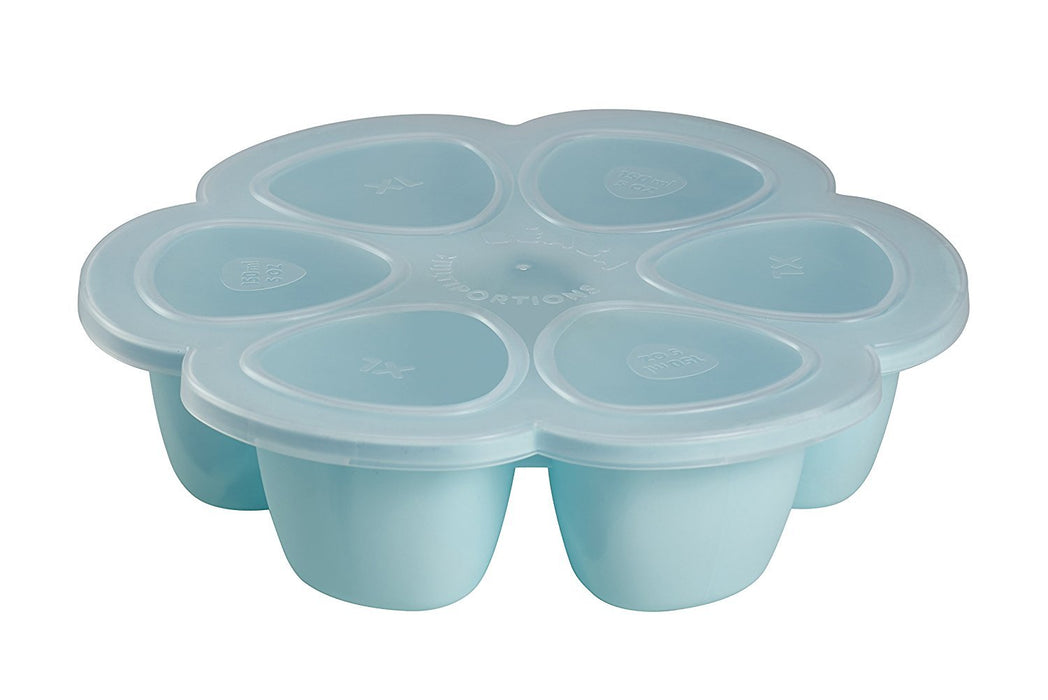 BEABA 6-Compartment Multiportions Silicone Food Storage (150 ml, Blue)
