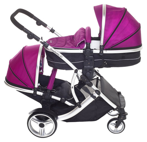 Kids Kargo Duellette BS Combi Double pushchair Newborn and toddler (Silver Chassis, Magenta Pink)