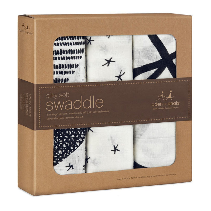 aden + anais Silky Soft Swaddle (Midnight, Pack of 3)