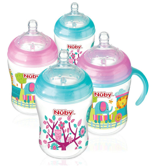 Nuby Natural Touch Decorated Bottles (270 ml, Pink/Aqua, Pack of 4)