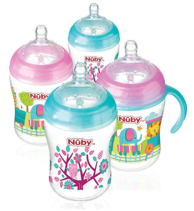 6 x 270ml Decorated Nuby Natural Touch Easy Latch Anti-Colic Bottles