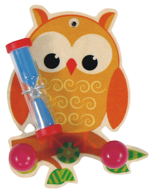 Hess Wooden Owl with Towel Rail Decor Tooth Brush Holder with Timer