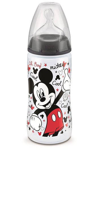 Nuk Disney Set of 3 Mickey Baby Bottles with Silicone Teats - Size 2 (6-18 Months) - Assorted Colours