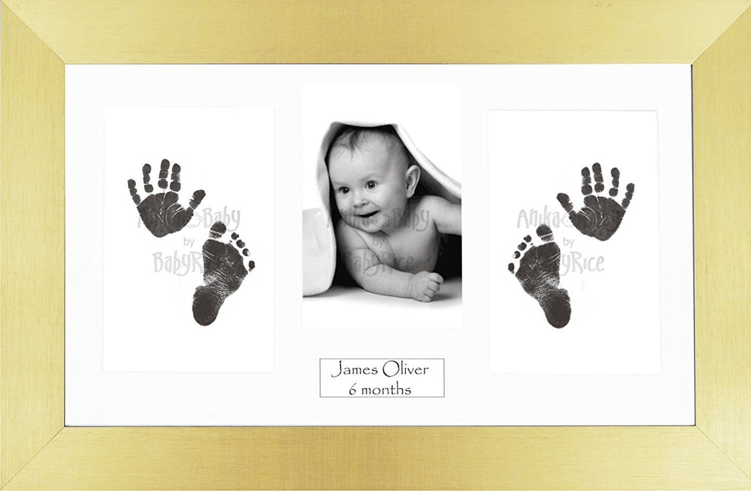 Anika-Baby BabyRice Baby Hand and Footprints Kit includes Black Inkless Prints/ Gold Frame with White Mount Display