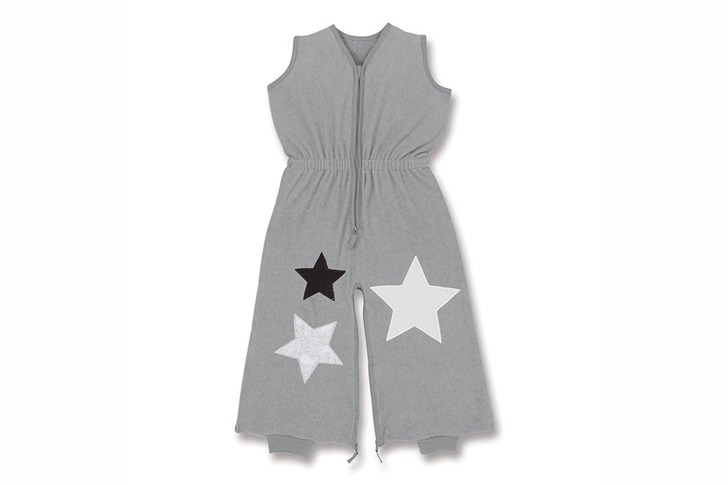 Bemini by Baby Boum 85cm 2-in-1 Lightweight Baby Sleep Sack and Jumpsuit with Sensory 3D Metallic Star Applique Spaceman Collection (Warm Grey)