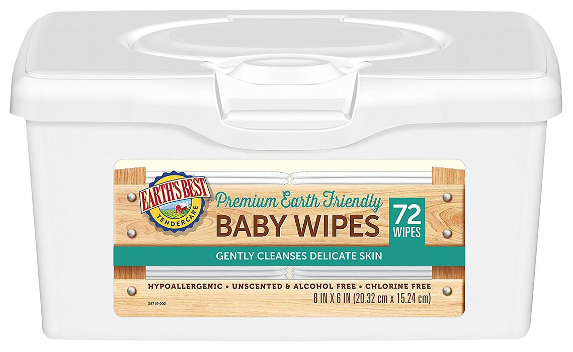 Earth's Best Chlorine-Free Wipes, Tub, 864 Count