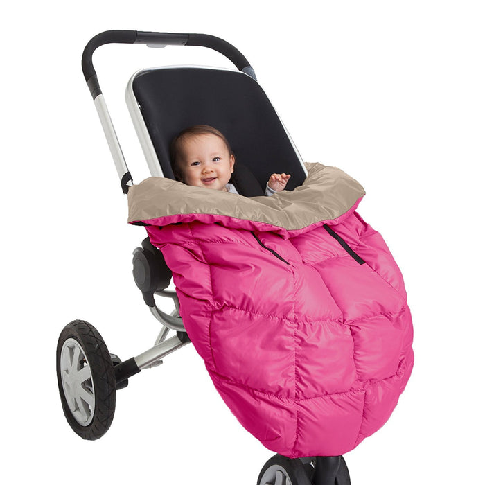 7AM Enfant Cygnet: 3-in-1 Cover for the Baby Carrier, Car-Seat and Stroller, Neon Pink/Beige