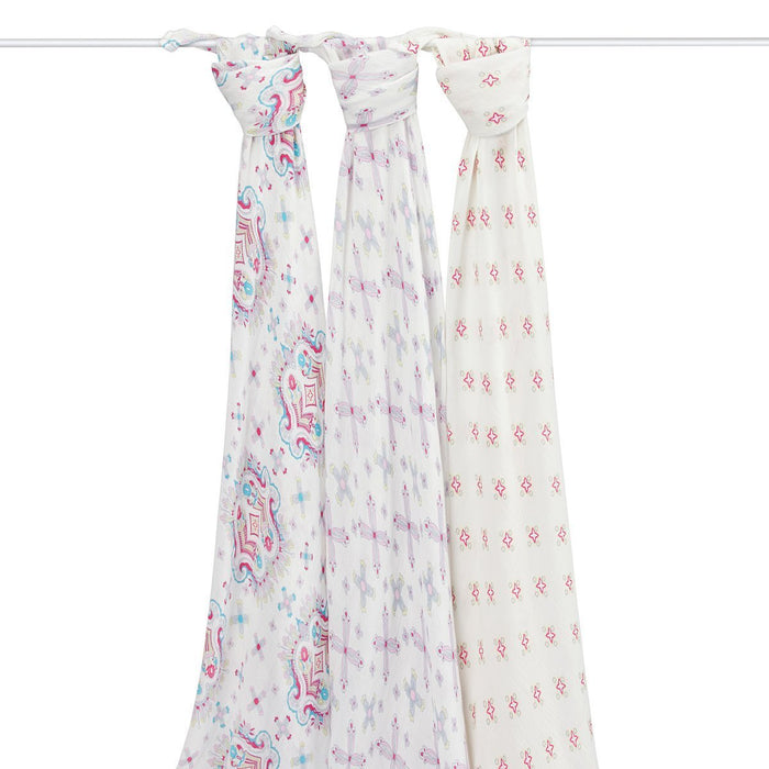 aden + anais Silky Soft Swaddle (Flower Child, Pack of 3)