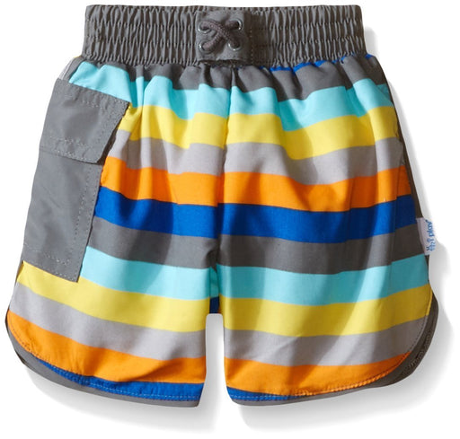 i play. Swim Nappy Board Shorts (6-12 Months, Grey Multi-Stripe)