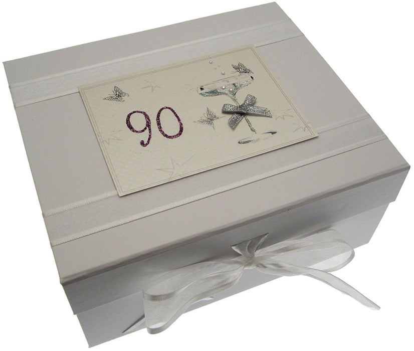 90th Birthday, Small Keepsake Box, Coupé Glass
