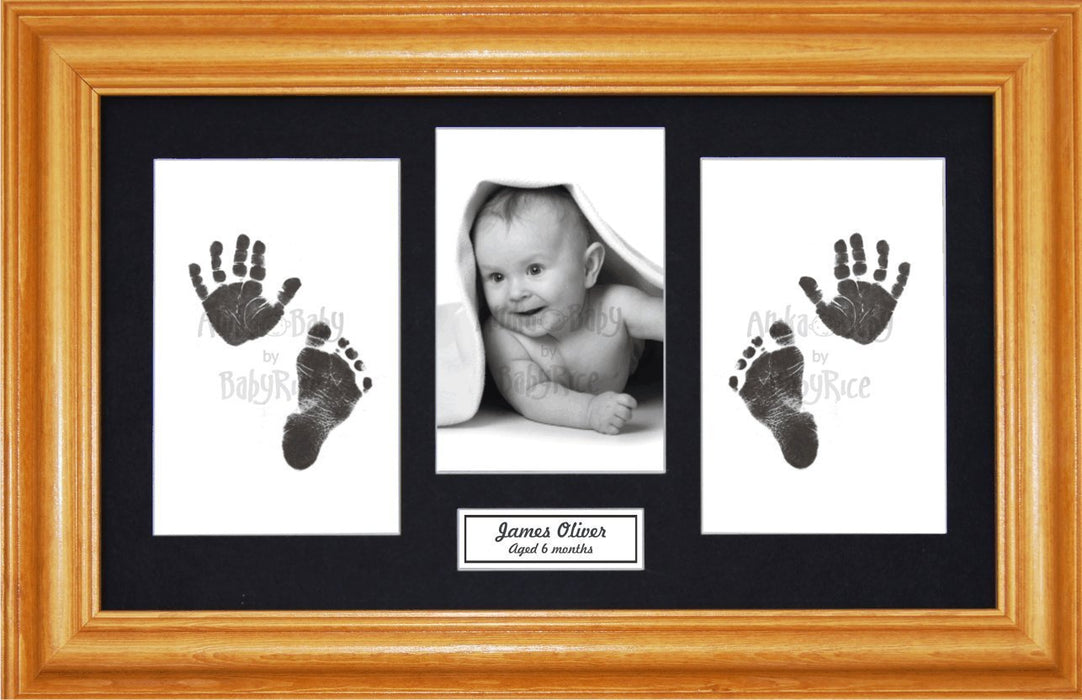 Anika-Baby BabyRice Baby Hand and Footprints Kit includes Black Inkless Prints/ Honey Pine Wooden Frame with Black Mount Display