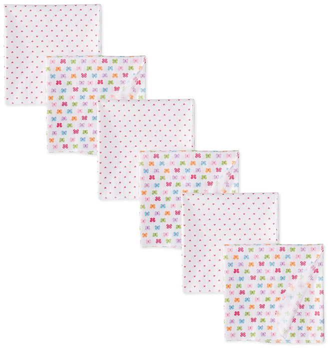 Always Baby Girls' Butterfly Flannel Receiving Blanket Bundle, Butterfly, One Size(Pack of 6)