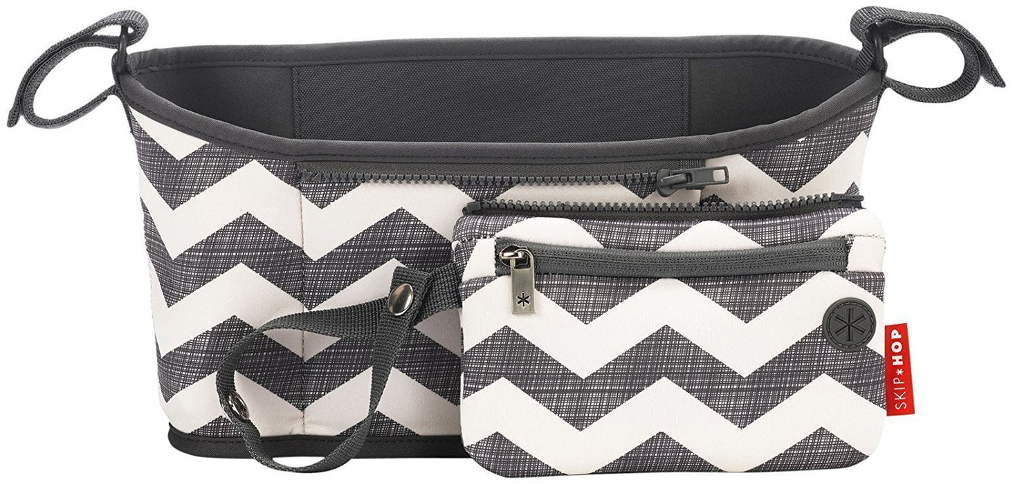 Skip Hop Grab and Go Attachable Neoprene Stroller Organizer and Cup Holder with Detachable Wristlet, Universal Fit, Grey / White, Chevron