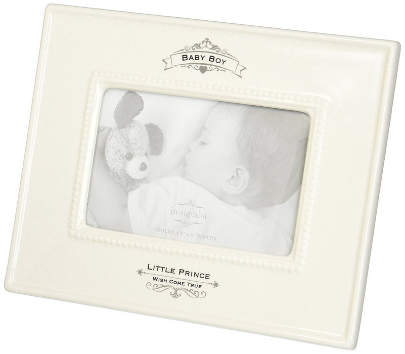 Insignia 4050325 Little Prince Baby Boy Photo Frame, 9.5 inch, Ivory ...