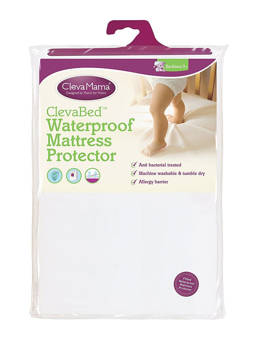 Clevamama Waterproof Mattress Protector Cot Bed (70x140 cm) - Fitted, Brushed Cotton