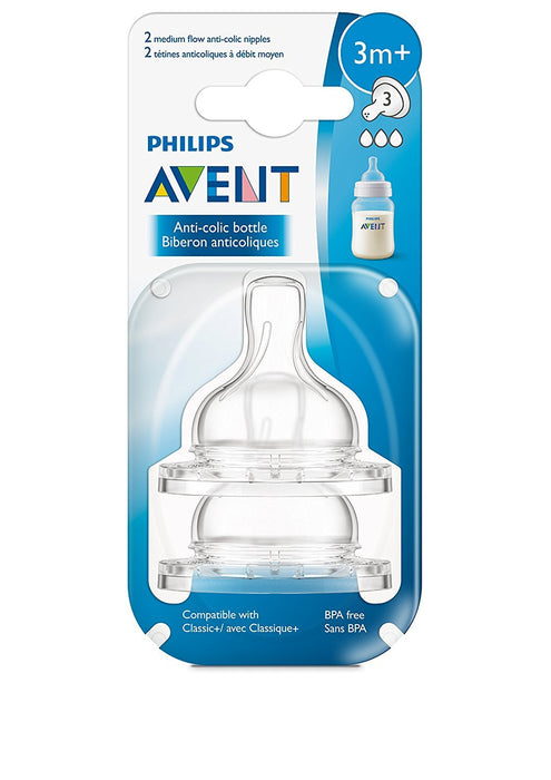 Philips AVENT Anti-Colic Nipple, Clear, Medium Flow