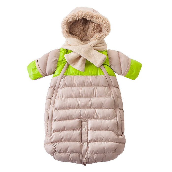 7AM Enfant Doudoune One Piece Infant Snowsuit Bunting, Beige/Neon Lime, Large