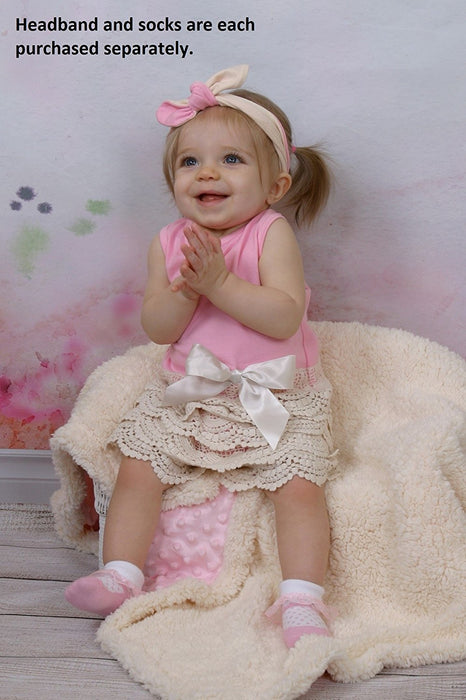 Stephan Baby Scalloped Lace-Trimmed Top and Lace Diaper Cover Set, Pink/Ecru, 3-6 Months
