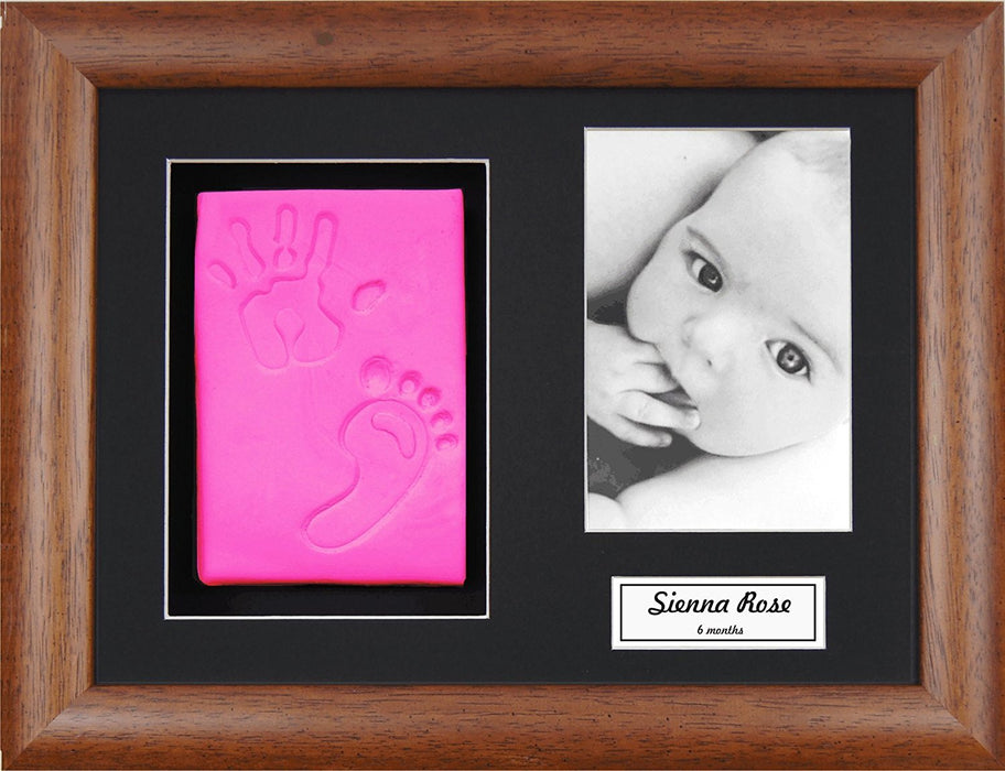 Anika-Baby BabyRice Baby Girl Handprint Footprint Kit Soft Pink Clay Dough Dark Wood Box Photo Display Frame