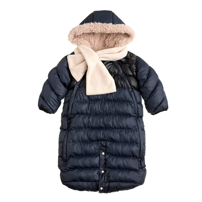 7AM Enfant Doudoune One Piece Infant Snowsuit Bunting, Midnight Blue/Black, Small