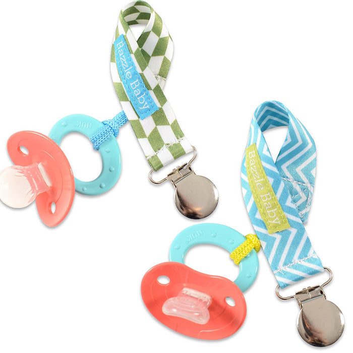 Bazzle Baby Paci Loop Pacifier Holder, 2 Pack, Diamonds & Chevron, One Size