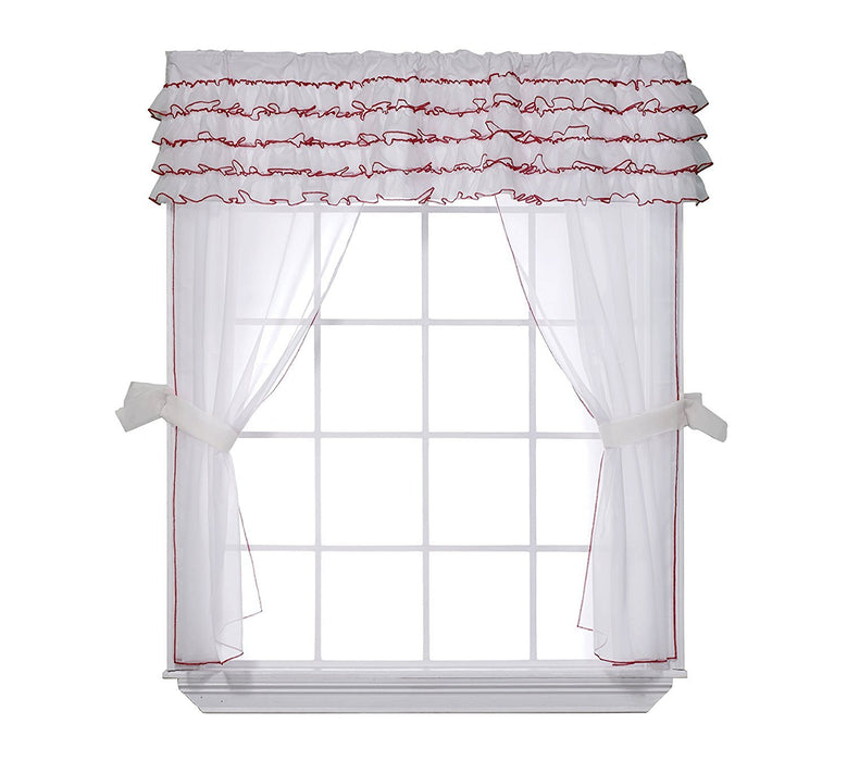 Baby Doll Bedding Layered 5 Piece Window Valance and Curtain Set, White/Red