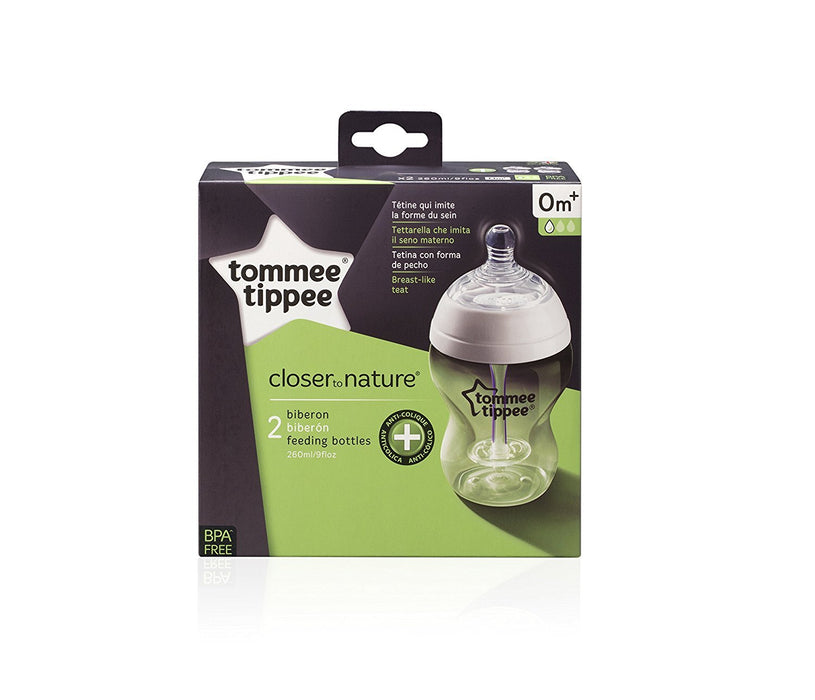 Tommee Tippee Closer to Nature 260 ml/9fl oz Anti-Colic Plus Feeding Bottles (2-pack)